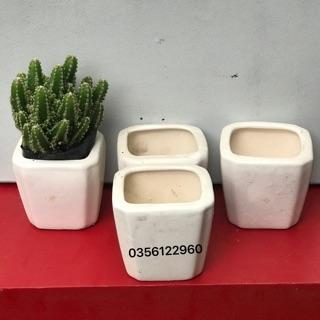 Chậu sứ vuông bát tràng màu trắng kt: 5cm