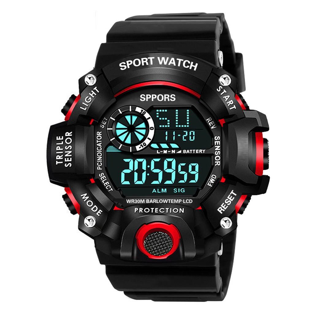 Đồng hồ thể thao điện tử nam nữ SPORTS đồng hồ sinh viên đèn led ban đêm, đầy đủ chức năng cơ bản dây nhựa silicon