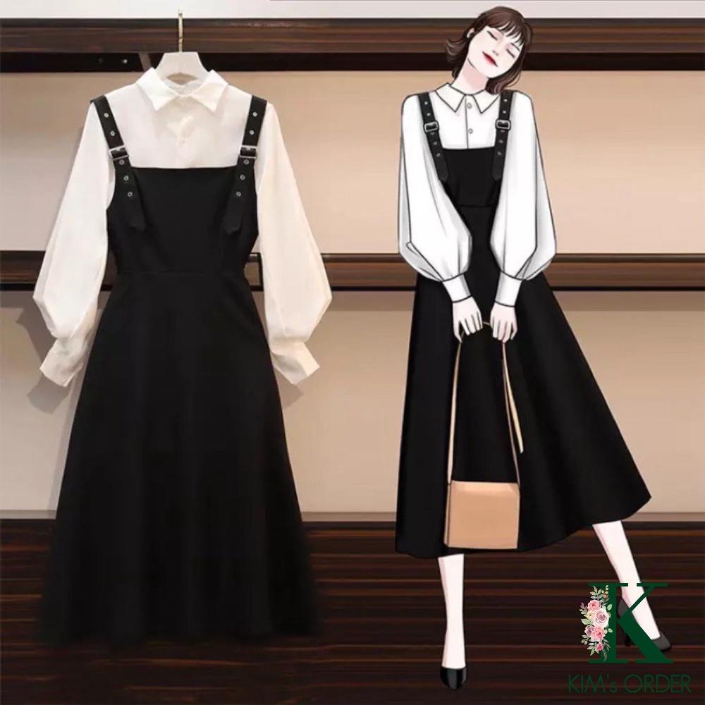 Váy yếm nữ kèm áo tay bồng đầm dự tiệc váy cưới phong cách tiểu thư Hàn Quốc hai màu trắng, xanh thời trang, có bigsize