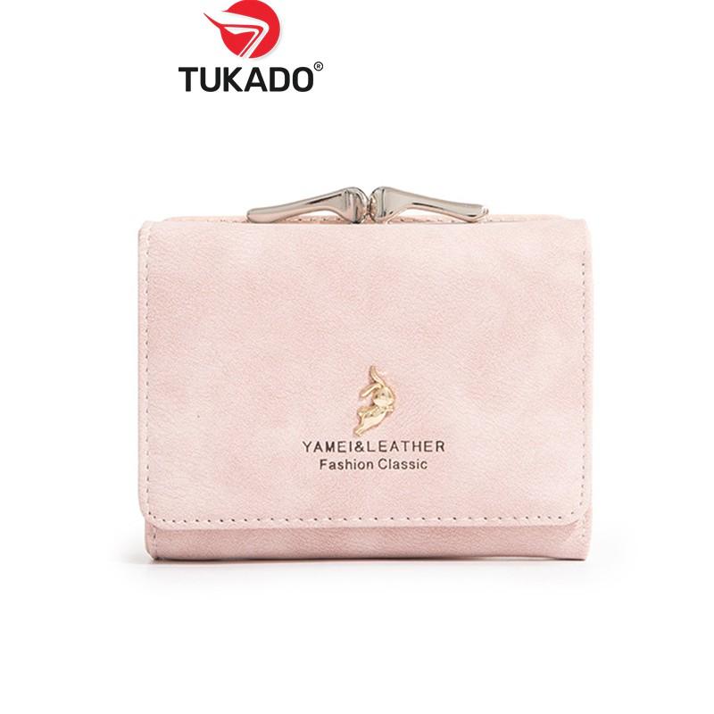 Ví Nữ Mini Cầm Tay 𝐘𝐀𝐌𝐄𝐈𝐋𝐈 Nhỏ Gọn Nhiều Ngăn Đựng Tiền Phối Da Lộn Cao Cấp Hàng Chính Hãng YL03 - Tukado