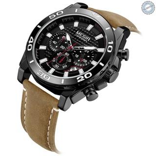 Đồng hồ thể thao cho nam MEGIR 2094 dây da 3ATM chống thấm nước có lịch tiện dụng họa tiết phát sáng độc đáo