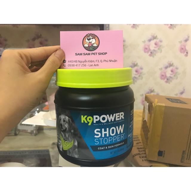 Bột dưỡng lông K9 ShowStopper cho chó giúp giảm rụng lông ;dưỡng dài và làm mượt lông 454gr