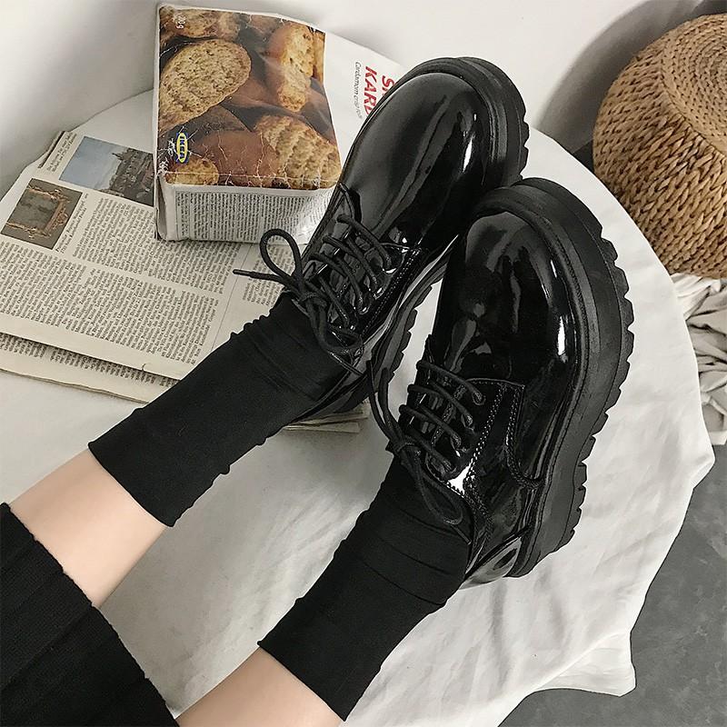 Giày bánh mỳ da bóng đế cao 5cm (ảnh thật ở cuối) mã 501