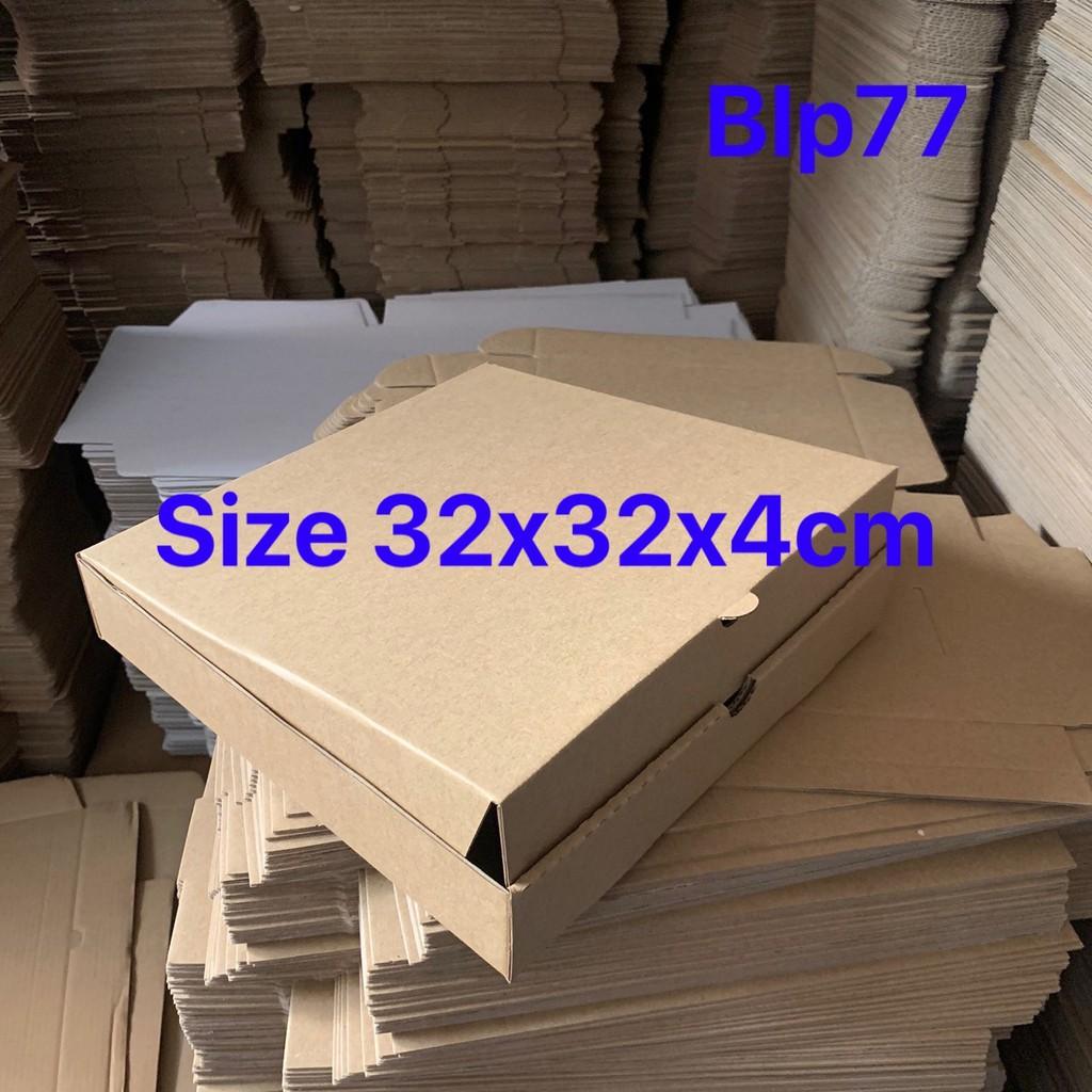 Hộp carton đựng bánh pizza size 32x32x4cm màu nâu
