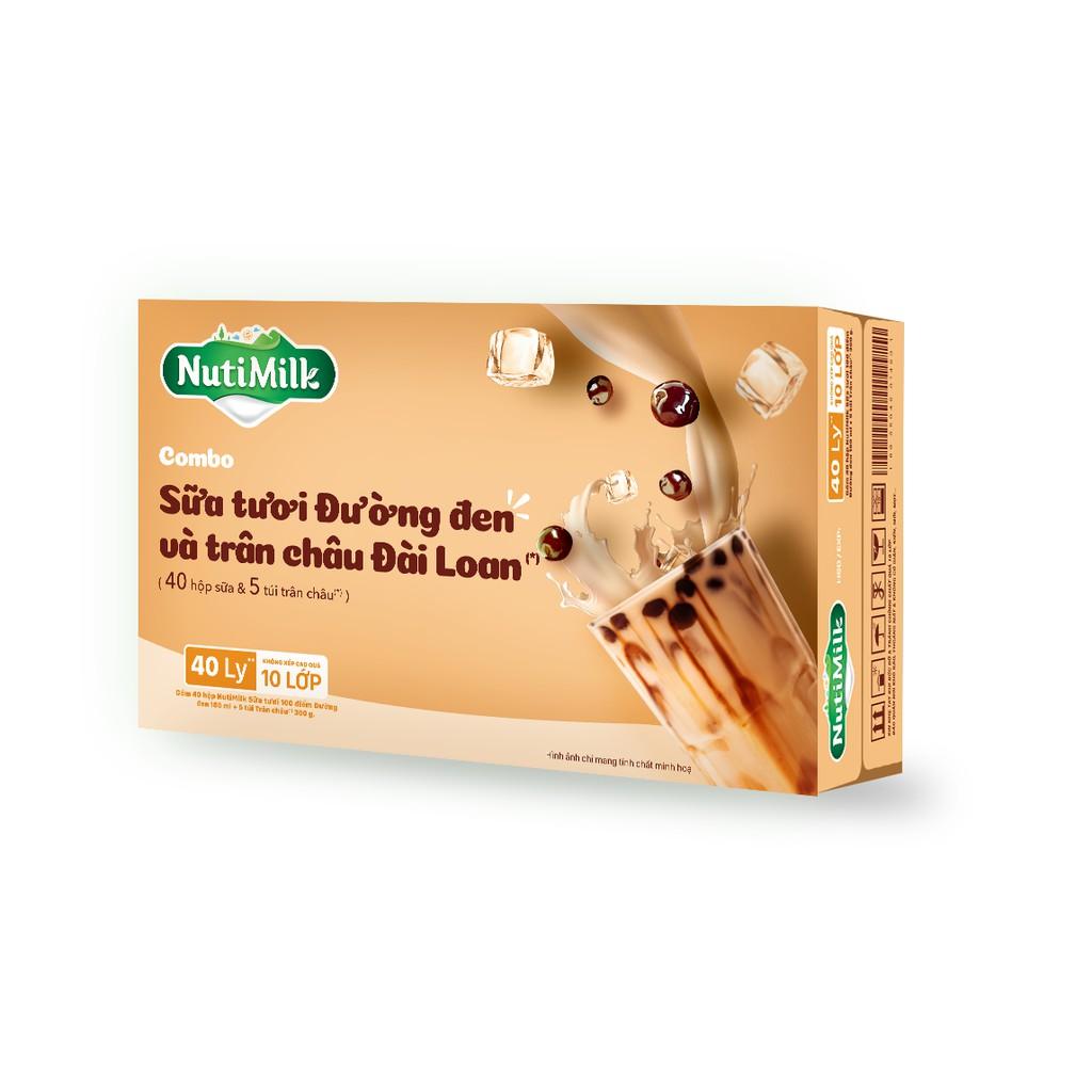 Thùng 40 hộp nutil sữa tươi đường đen 180ml/1hop và 5 bịch trân châu 300g