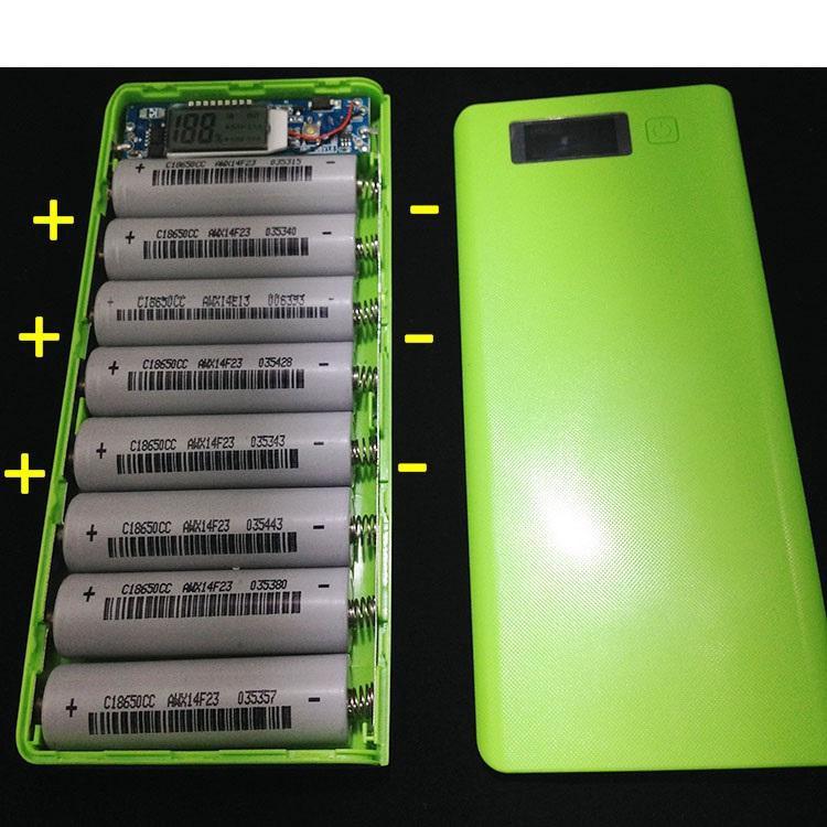 Bộ sạc dự phòng SMH 8 khe pin dùng pin 18650 2 cổng ra USB 1A/2A có đèn LED báo dung lượng pin (Trắng)