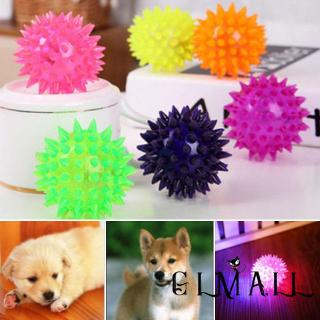 ➤GMLBest New Pet Dog Puppy LED Light Up Flashing Play Toy Chasing Bounce Rubber Spiky Ball