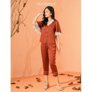 Folie Homewear đồ mặc nhà áo tay ngắn quần lửng thêu FB92.1 Đẹp xịn