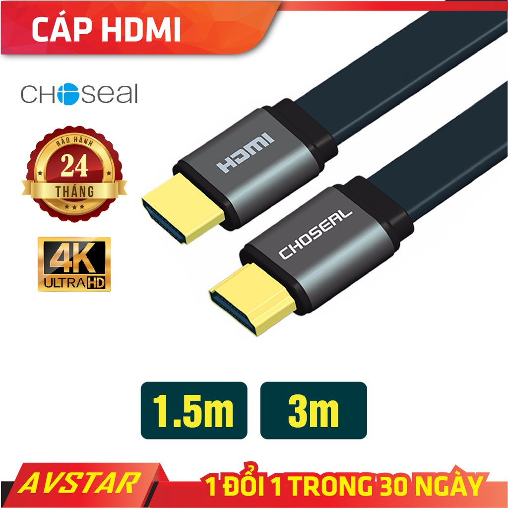 Dây Cáp HDMI Choseal Loại Dẹt 1,5m, 3m, tivi, chơi game, máy chiếu, chuẩn full HD