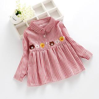 Đầm kẻ sọc hình hoạt họa đáng yêu cho bé