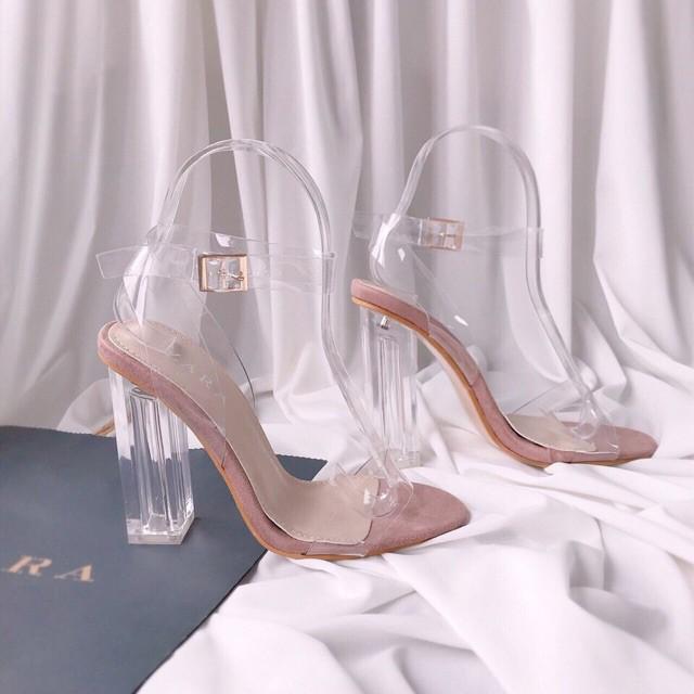 🆘 Sandal trong suốt gót vuông 10 phân giày cao gót màu nude hàng cao cấp full box ( có hộp) | SaleOff247