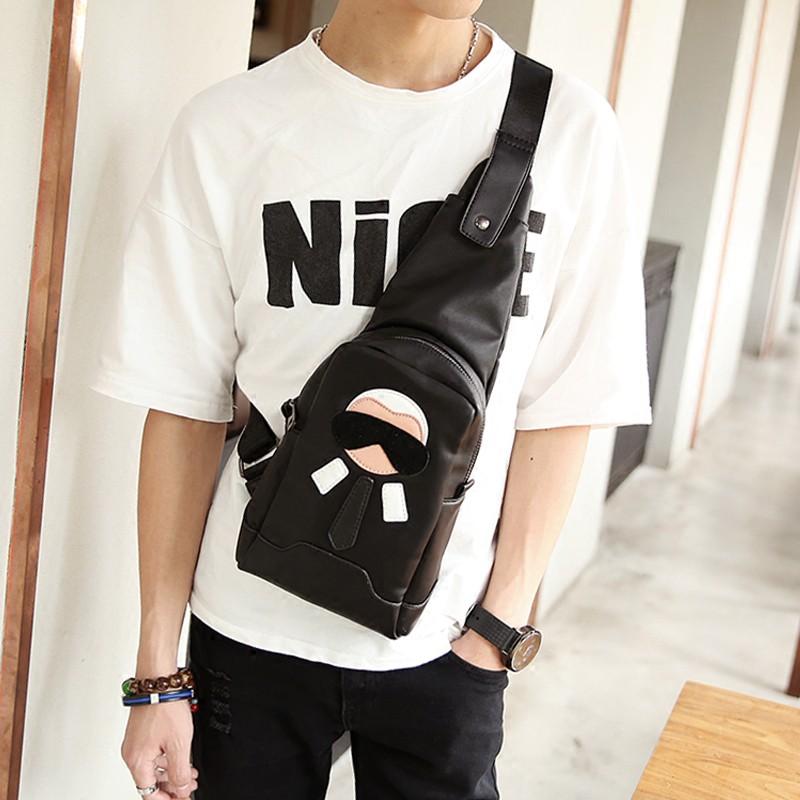 Trendy new Korean men and women chest bag Trendy color leath