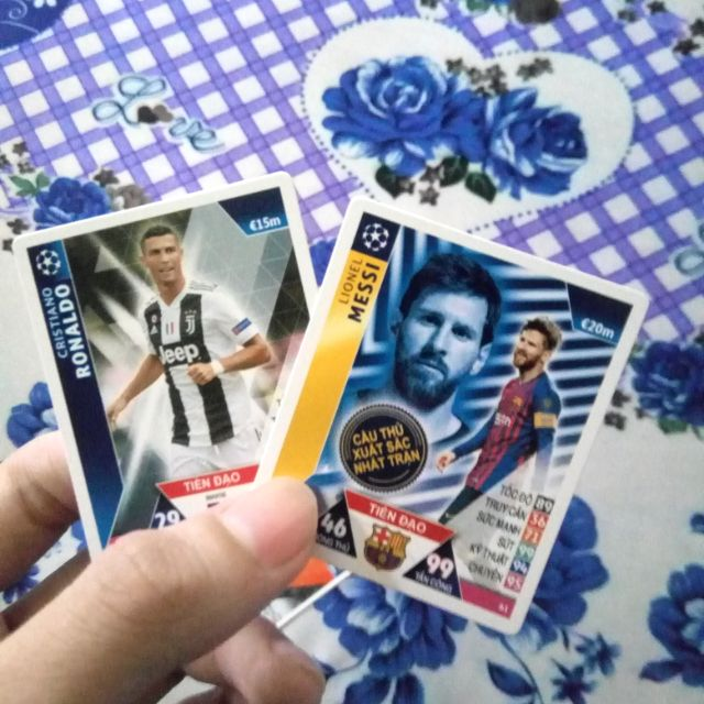 2 thẻ Poca Match Attax 2018/19-Ronaldo và Messi