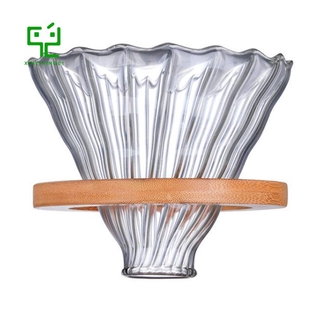Wooden Coffee Dripper Reusable Filters V60 Glass Style Glass Coffee Filter Reusable Coffee Funnel