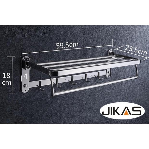 GIÁ ĐỂ ĐỒ KẾT HỢP TREO KHĂN INOX 304 JIKAS JK-9033