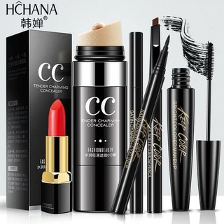 Combo Bộ trang điểm mắt 5 món có kem thỏi CC và son môi