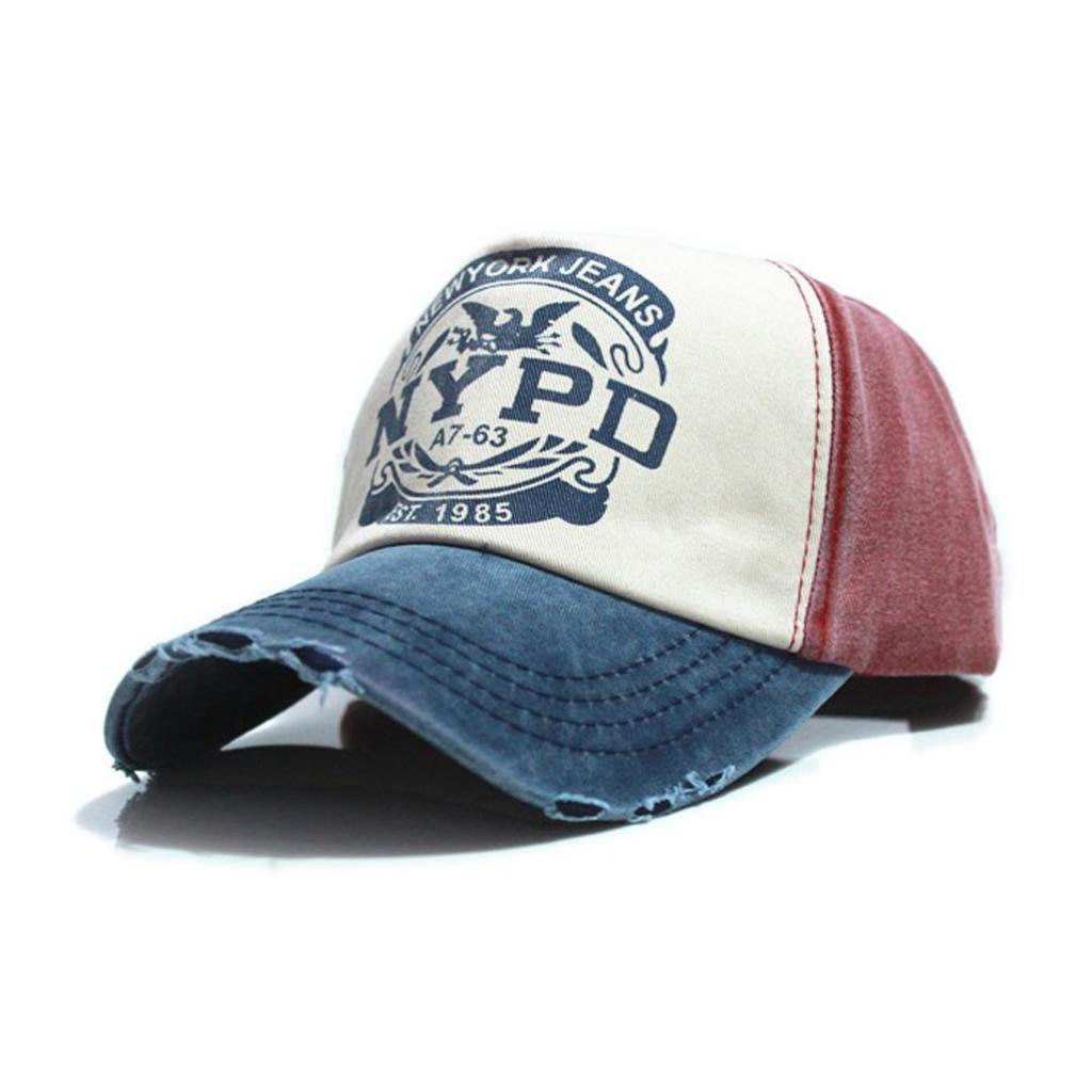 หมวกแก๊ป หมวกกันแดดแฟชั่น NYPD Letter Casquette Hole Caps Unisex Gorras Hombre women Cottonมวกแก๊ป หมวกกันแดดแฟชั่น NY