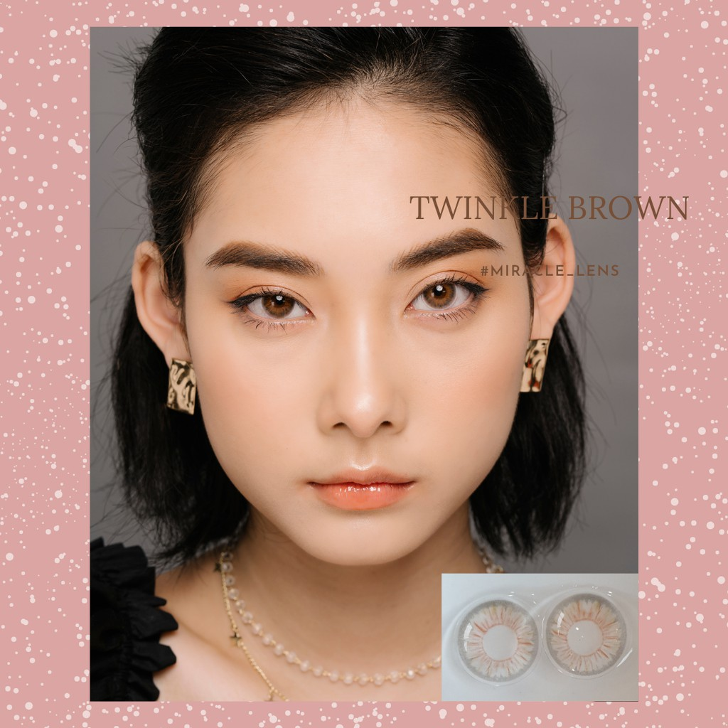 [TẶNG KÈM HỘP KÍNH] Kính áp tròng Hàn Quốc lens mắt TWINKLE BROWN - Lens cận thời trang