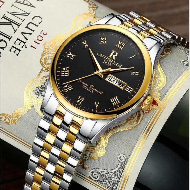 Đồng hồ nam dây thép Ontheedge 020 (fullbox, demi vàng-đen)