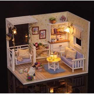 Bộ lắp ghép nhà búp bê Cute Room – phòng khách có xích đu và mèo trắng Kitten Diary