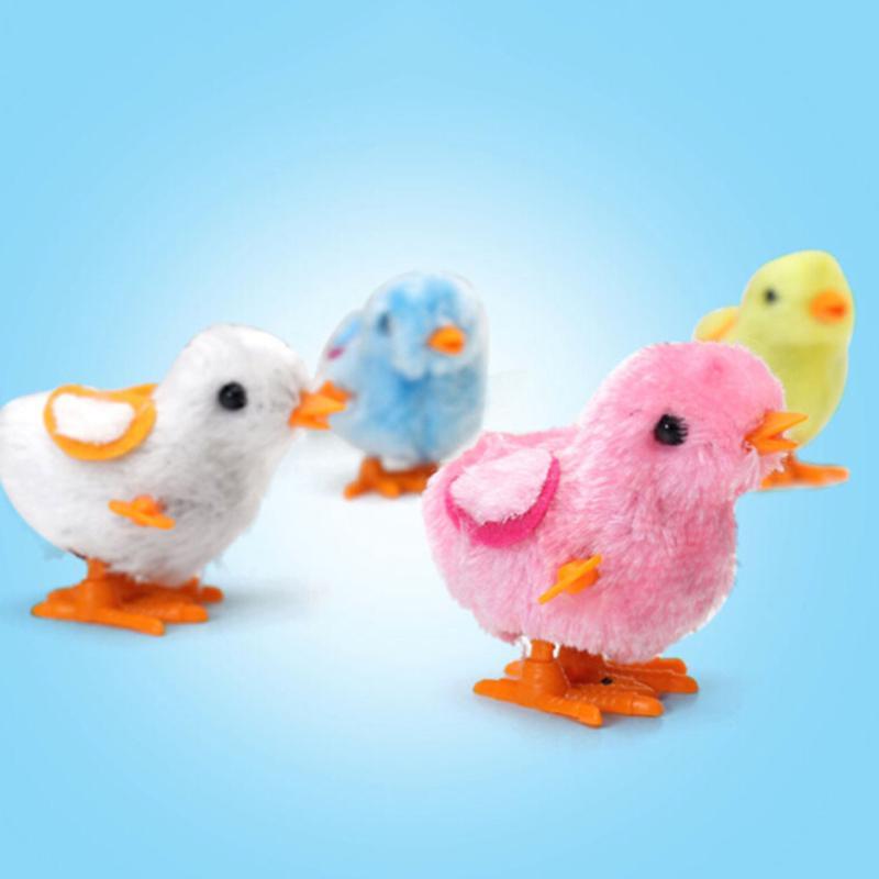 Funny Small Hopping Jumping Clockwork Walking Plush Chick Toy Kids Children Gift