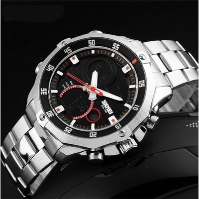 Đồng hồ nam SKMEI dây trắng có lịch điện tử