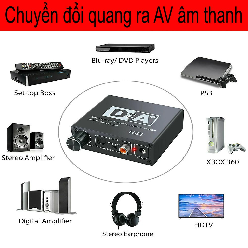 Bộ chuyển đổi Âm Thanh Cổng quang Optical sang Audio AV - R/L, Cổng 3,5 Hỗ Trợ Tv 4k Loại Xịn Model 2021 196-96kb