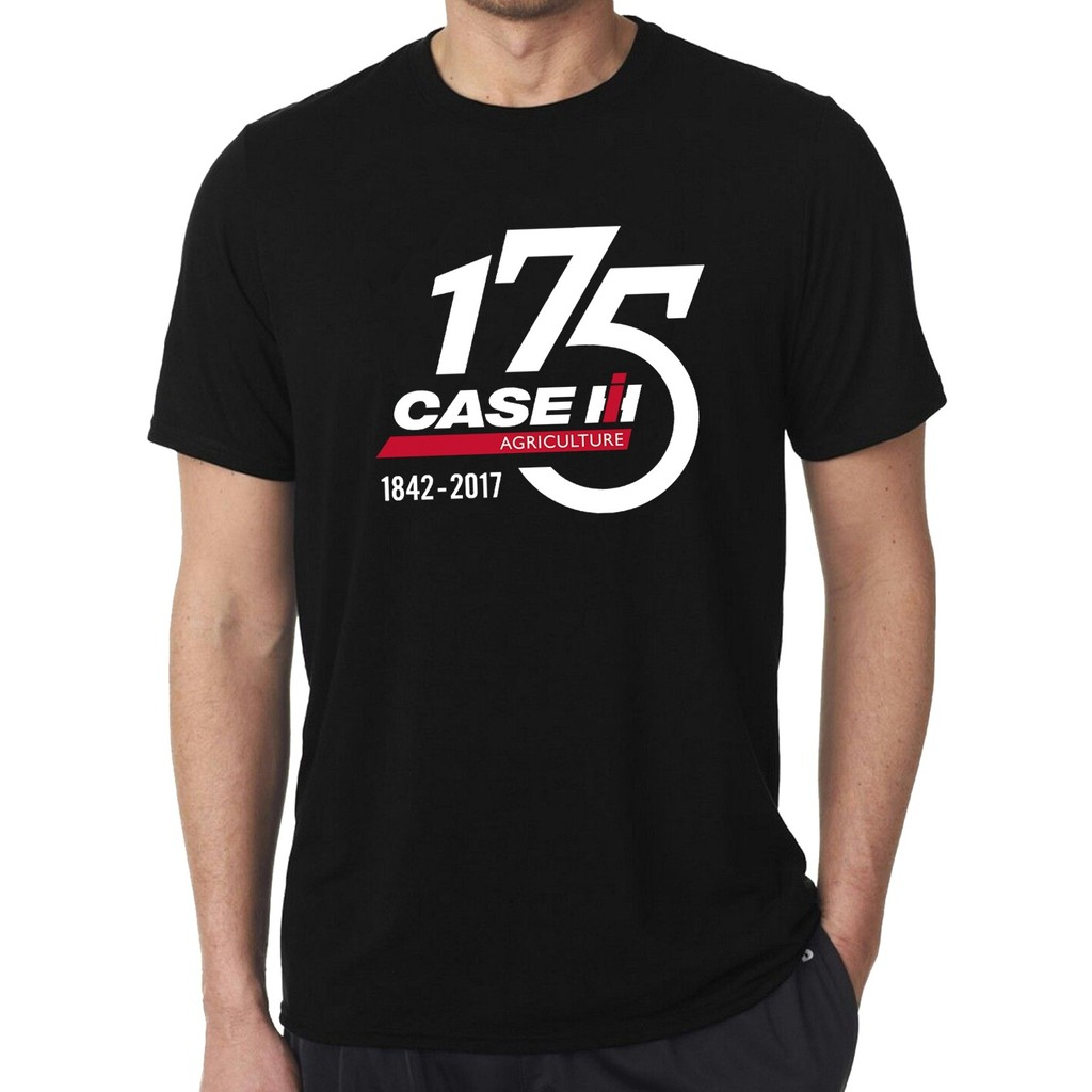 Men'S Case Ih 175 Years Black Tee Shirt Farming Tractor Harvester Agriculture Equipment Machines