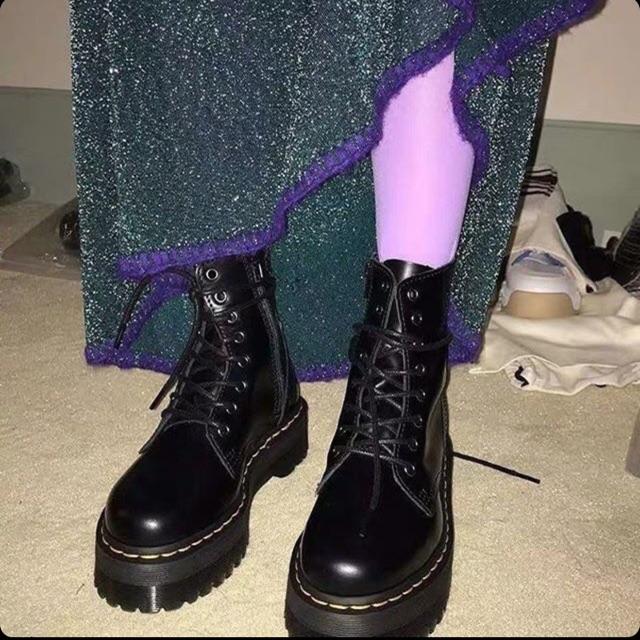 CLIP SHOP TỰ QUAY Boots cổ cao đế siêu cao nữ có khoá kéo đế đen