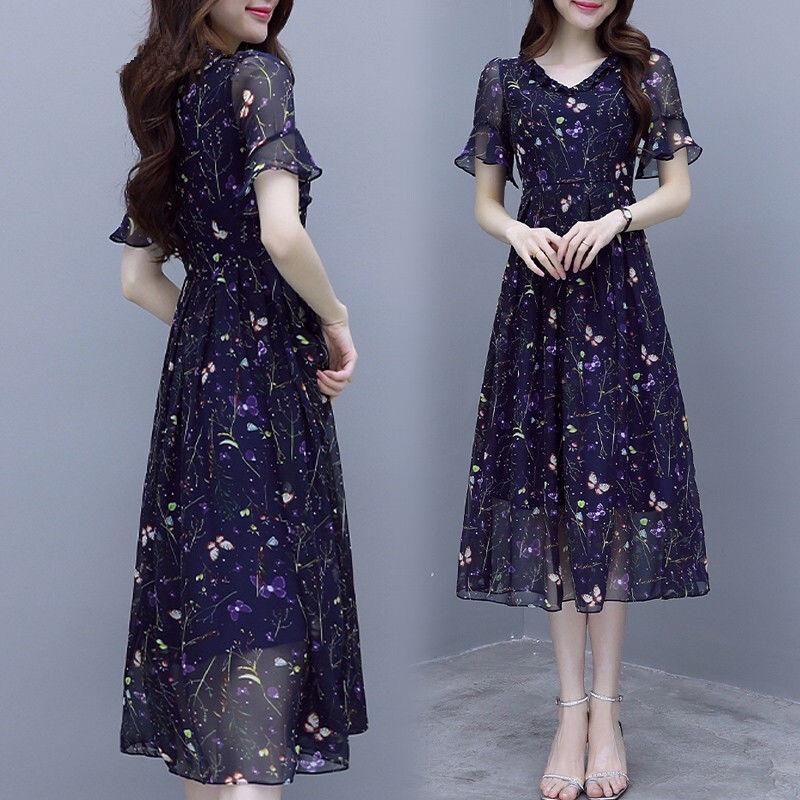 Đầm Voan Hoa Thời Trang Thanh Lịch Đáng Yêu Cho Nữ Kiểu Hàn Quốc 2020