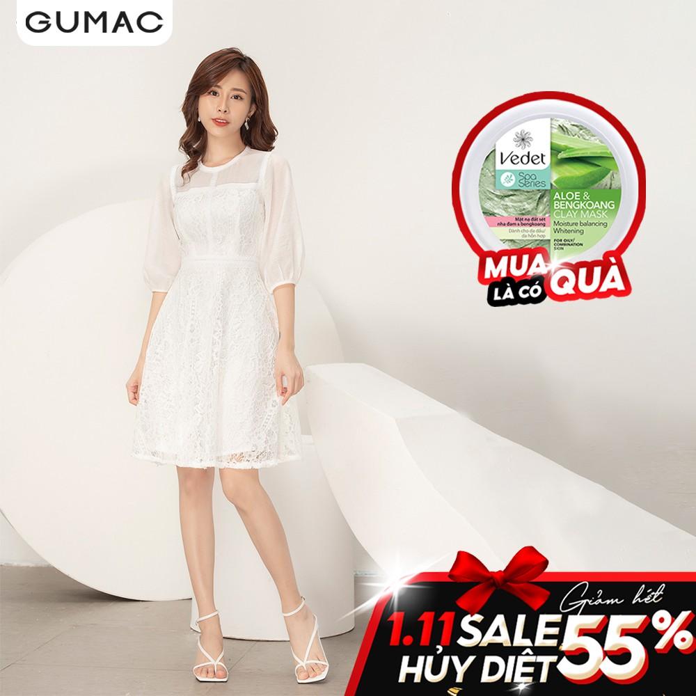 Đầm xòe ren phối tay DA9108 GUMAC