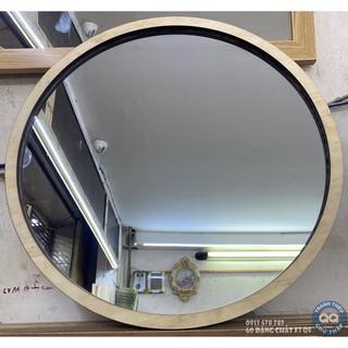 Gương tròn treo tường khung gỗ laser gương soi toàn thân