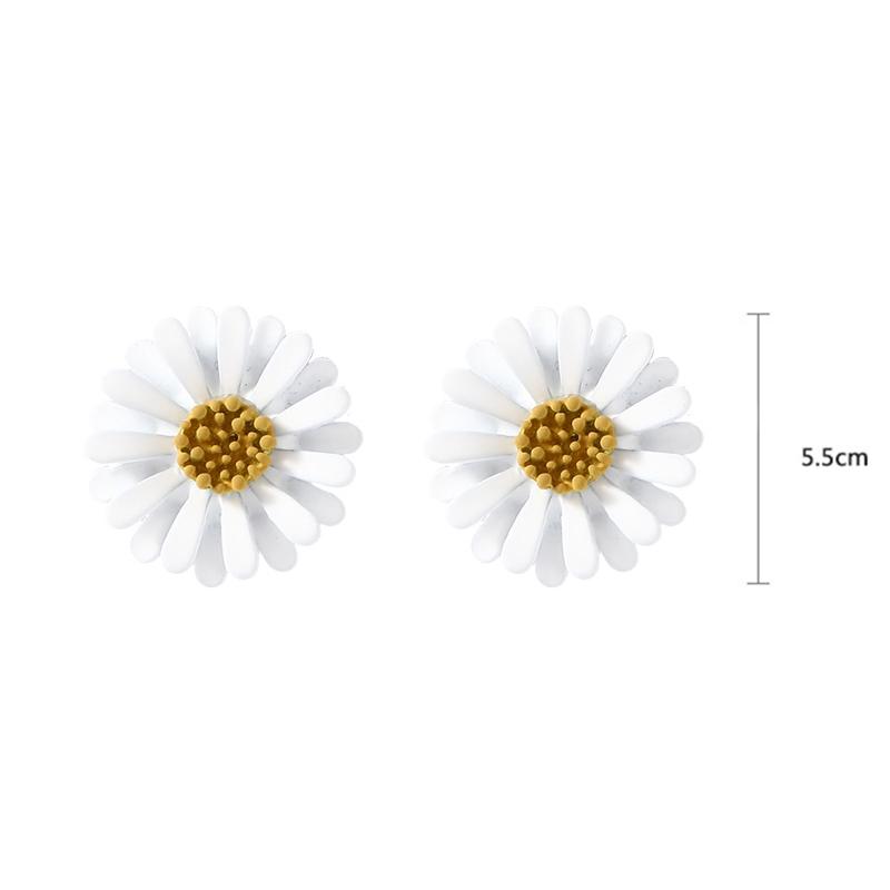 Bông tai hoa cúc trắng xinh xắn hàn quốc hoa cúc nhụy vàng dễ thương
