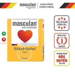 Bao cao su Đức Masculan - Gân chấm hạt - Ribbed+Dotted - 3 bao thumbnail