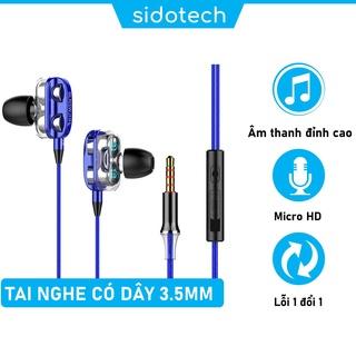 Tai nghe nhét tai có dây có mic giá rẻ SIDOTECH SD9 âm bass kép nghe nhạc EDM Remix chơi gaming esport jack 3.5mm thumbnail