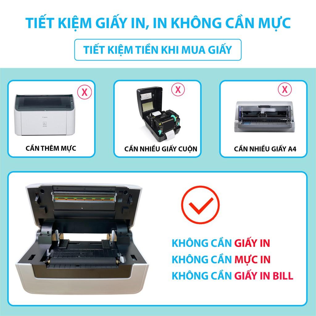 Máy in nhiệt Shoptida SP46 kèm 1000 giấy in nhiệt 10*15cm và khay, combo máy in đơn hàng tự dán bảo hành 12 tháng