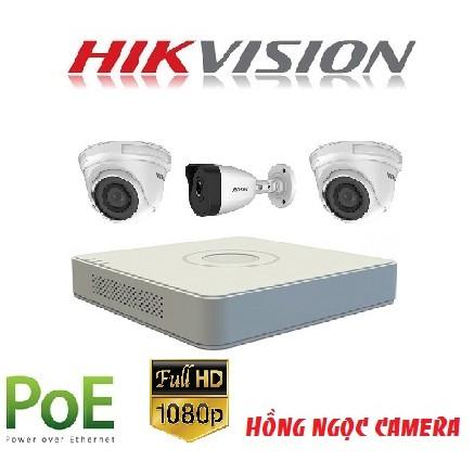 Trọn bộ 3 Camera IP Hikvision DS-D3200VN 2.0 Megapixel F
