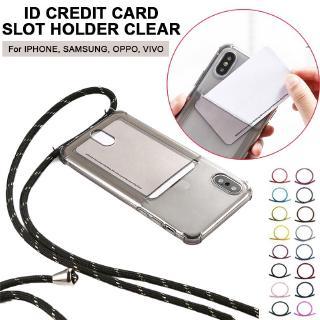 Thẻ tín dụng ID Thẻ giữ khe cắm điện thoại cho Samsung NOTE8 NOTE9 S8 S9 S9 Plus với dây đeo vòng cổ có thể điều chỉnh 150cm