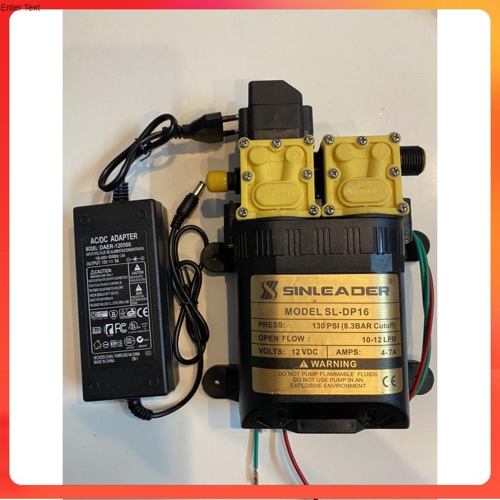 bơm 12v mini đôi kèm adapter 12v
