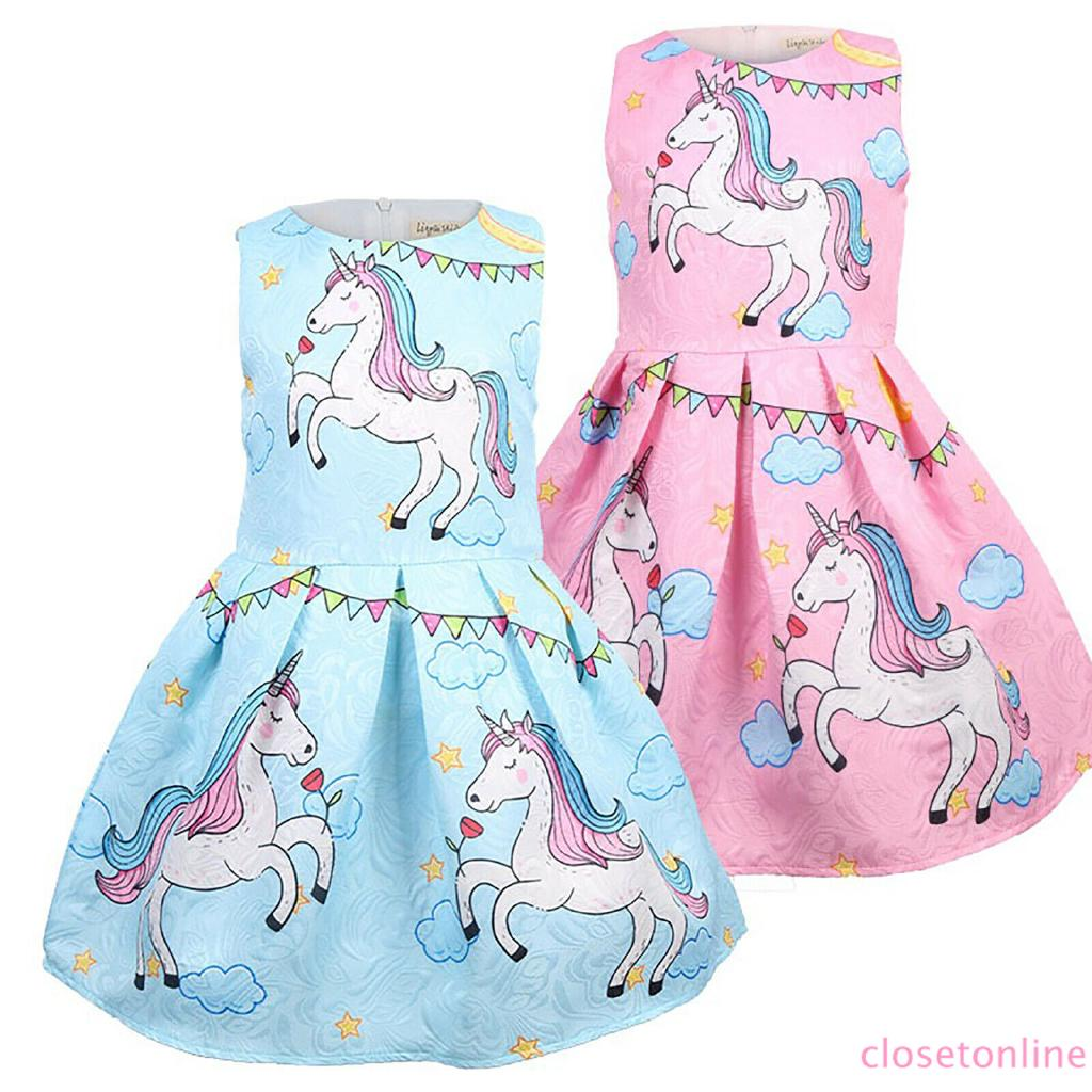 Đầm cộc tay in hình kỳ lân đáng yêu cho bé gái