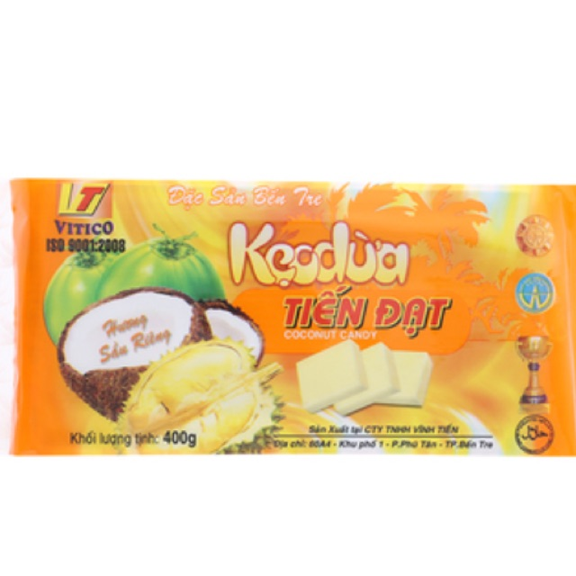 Kẹo dừa hương sầu riêng Tiến Đạt 400g