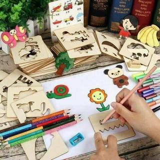 Bộ ghép hình kèm 55 khuôn vẽ bằng gỗ cho bé( tặng vỡ vẽ)