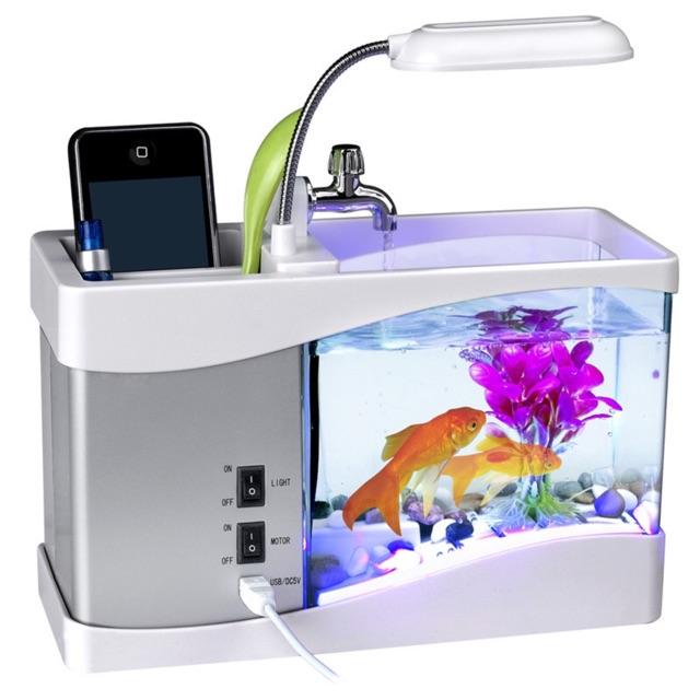 Bể Cá Mini + Đồng Hồ + Đèn Bàn + Sỏi, Cây Thủy S