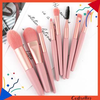 CODseller 8Pcs/Set Cosmestic Brush Wooden Handle Multi-purpose Portable Facial Make Up Brush Set for Women