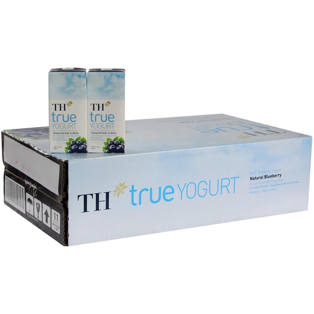 Thùng 48 hộp Sữa chua uống TH true Yogurt vị Việt Quất 180ml
