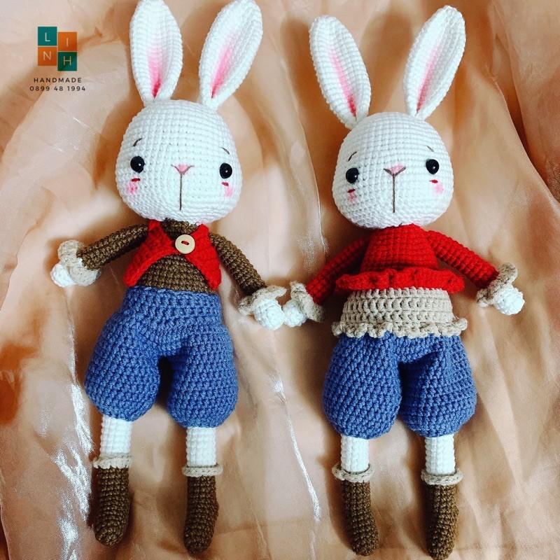 THÚ BÔNG LEN HANDMADE Cặp đôi thỏ quà tặng handmade len sợi đan móc thú bông handmade cao cấp an toàn