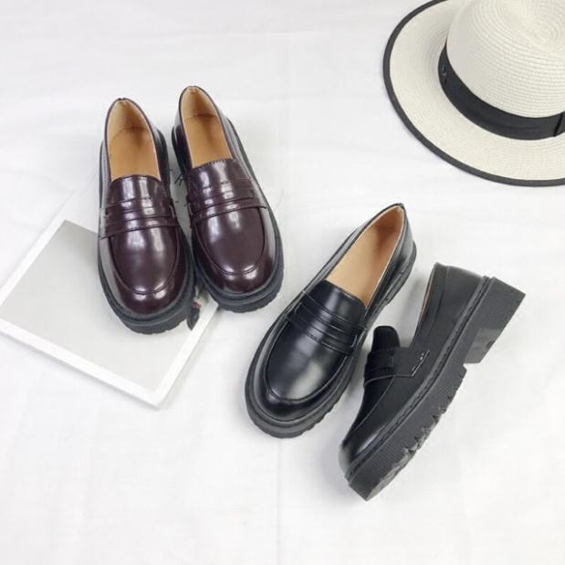 Giày loafer nữ mũi tròn da trơn hàng Quảng Châu