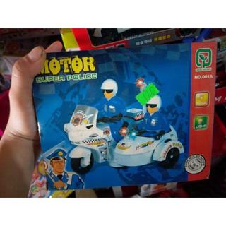 Đồ chơi trẻ em mô hình xe mô tô cảnh sát chạy bằng pin có nhạc đèn
