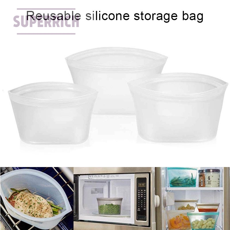 Reusable Silicone Food Storage Bags Zip Leak Proof Containers Stand Up Bag