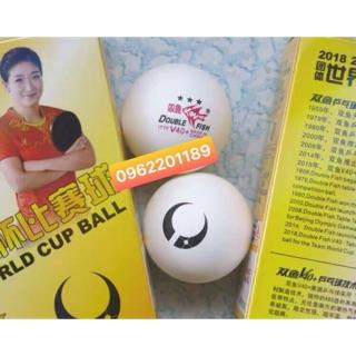 Quả bóng bàn Doublefish song ngư Team World Cup 3 sao 6 quả 40+ trắng hàng chính hãng